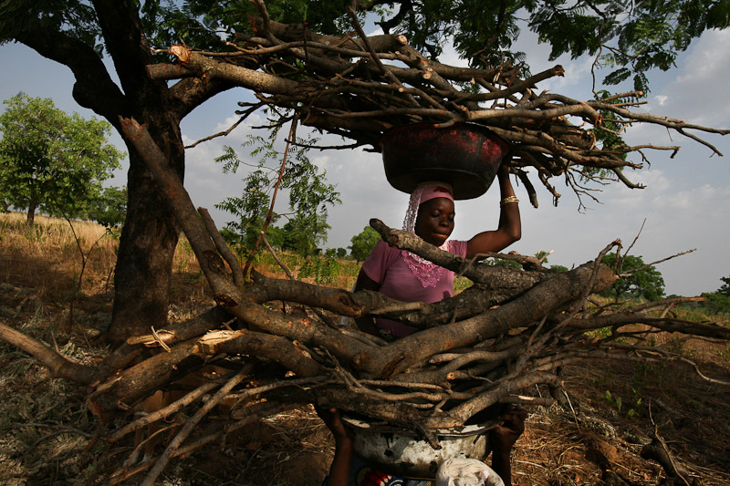 Amariya, a Kayayo woman who returned home to marry, lifts firewood onto her head outside of Tampion, Ghana.