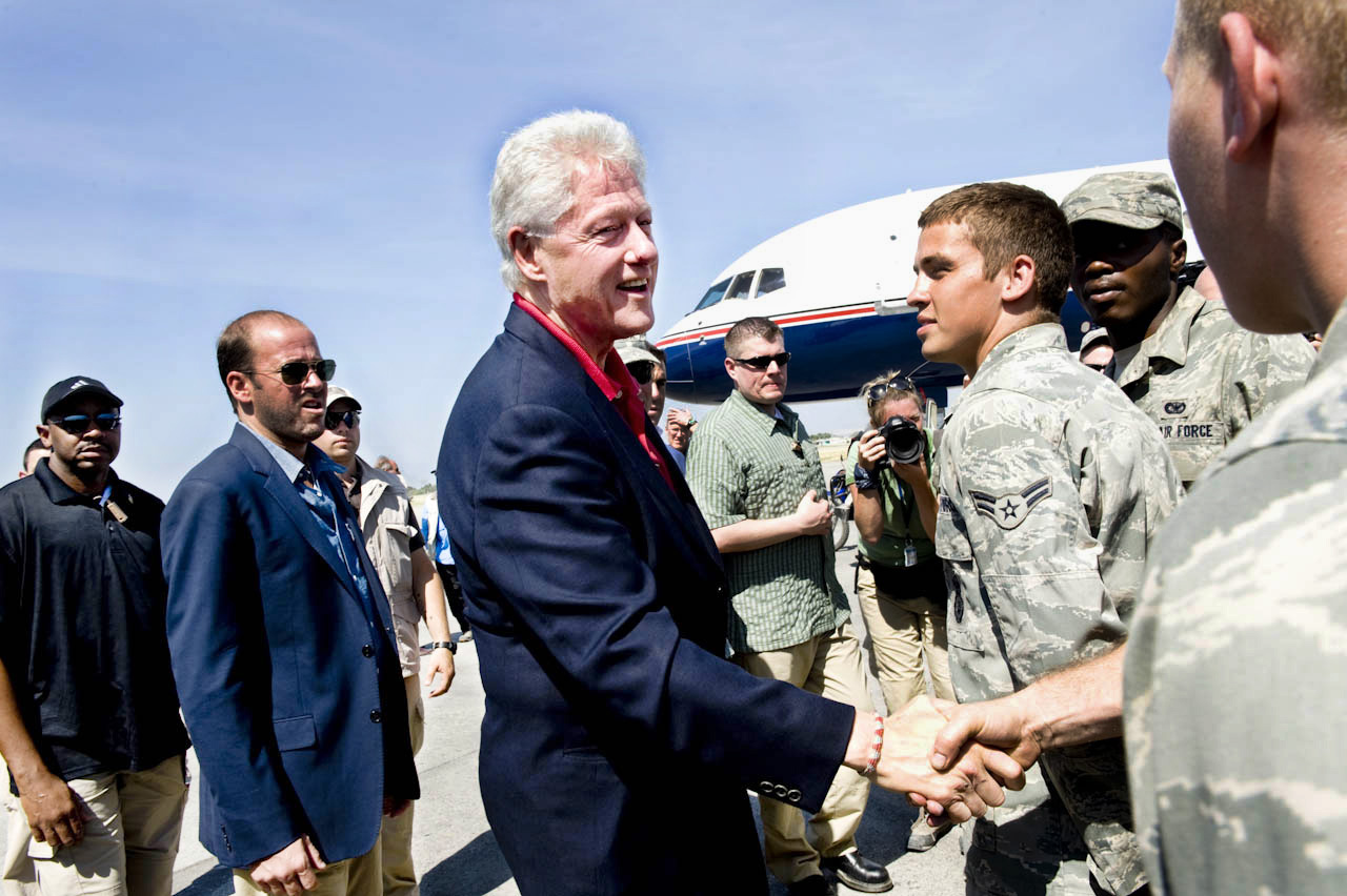 President Bill Clinton greets troops stationed in Haiti