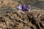 Devastation after the January 12, 2010 earthquake. Father Rick and Bishop Pierre Dumas perform blessings over mass graves in Titanyen. The state left the bodies piled up and the priest brought in bulldozers to give them a proper burial.