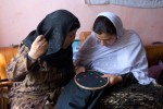 Women working on sewing project