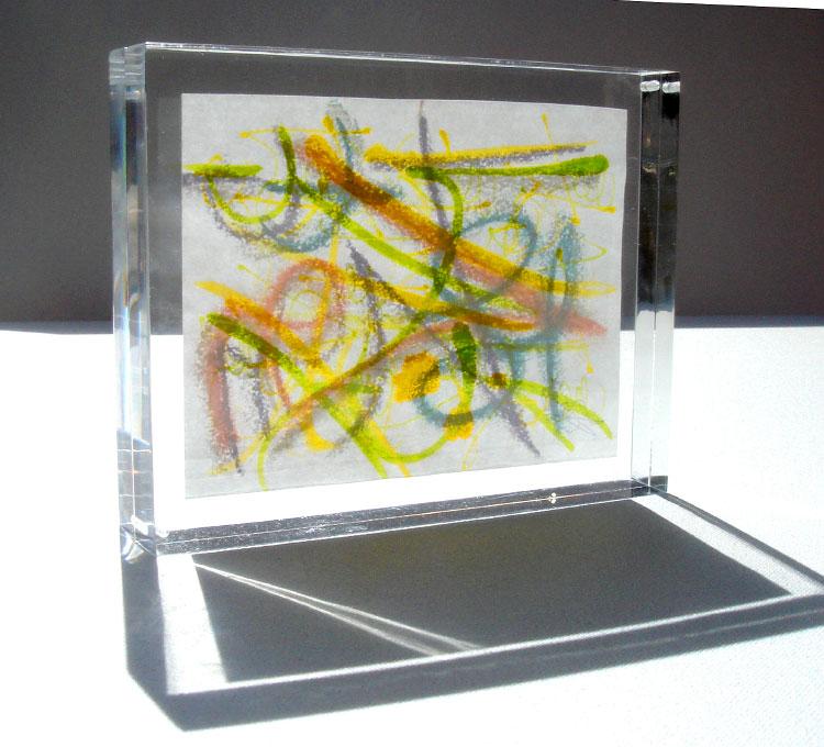 técnica: pastel, tinta y cera sobre papeldimensión por hoja: 15.5 x 11.5cm(montado en acrylico de 2.5cm de grueso)DISPONIBLE