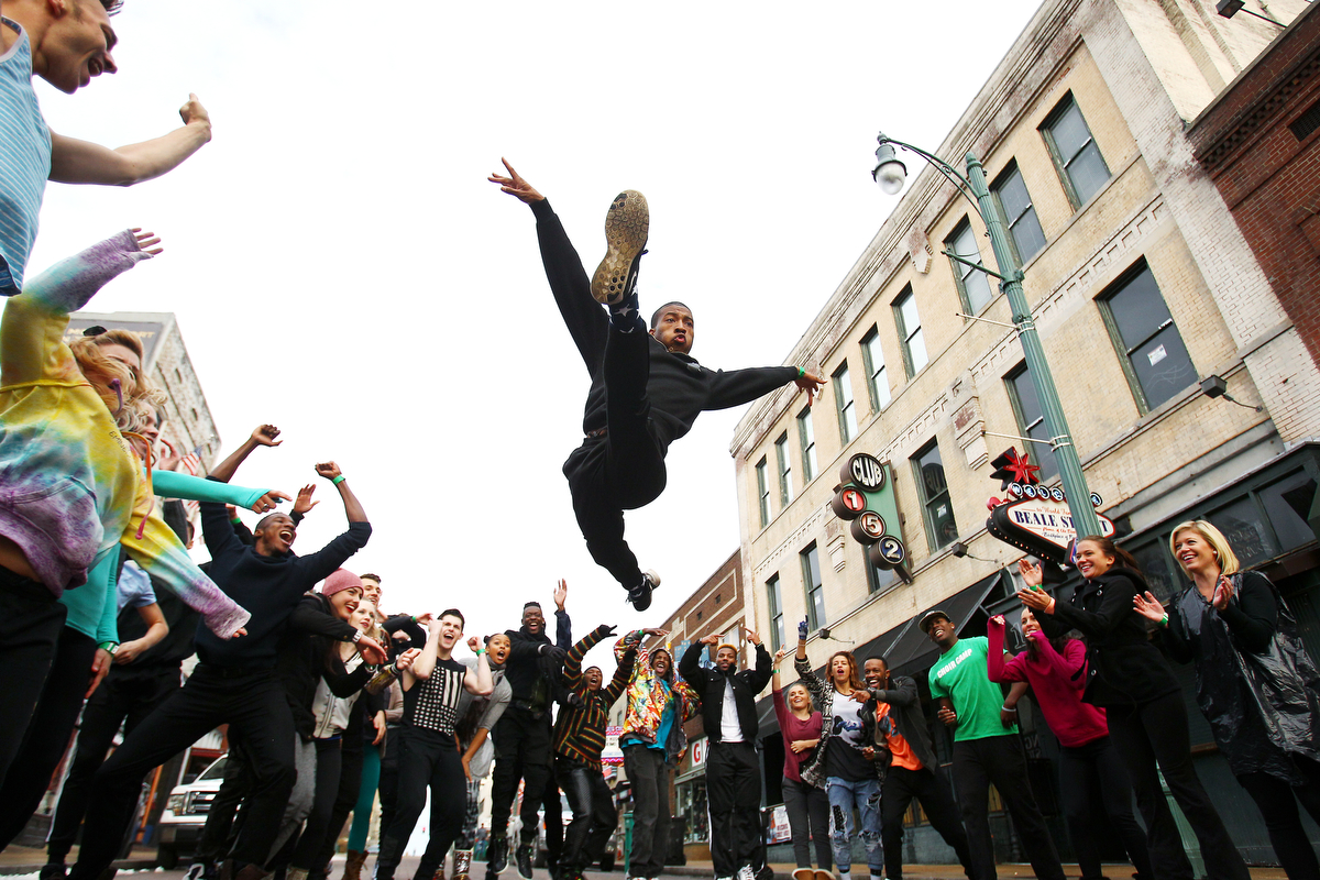 March 8, 2015 - Khy Chestnut, from Atlanta, Ga., dances on Beale Street with a group of other So You Think You Can Dance reality show hopefuls early Sunday morning for pre-screen auditions. Hundreds lined up outside the Orpheum Theatre downtown for a shot at making the 12th season of the reality television show. (Mike Brown/The Commercial Appeal)