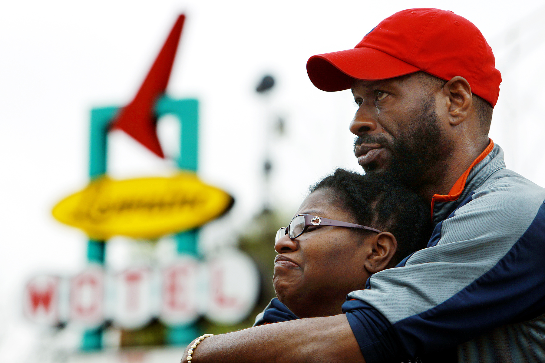 March 31, 2016 - Farice and Antandra Campbell, from Murphysboro, Ill. get emotional as they stand outside the National Civil Rights Museum and look up to the balcony where Martin Luther King Jr. was struck down by an assassin's bullet on April 4, 1968. On the 48th anniversary of his death this Monday the museum will hold a commemoration starting at 4:30 that will include remarks from Rev. Jesse Jackson and will conclude with a moment of silence at 6:01 when the gun shot rang out. (Mike Brown/The Commercial Appeal)