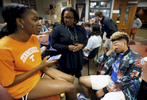 May 16, 2016 - St. George's associate director of college guidance Jessica Hardy (center) talks about college choices with Paige Madison and Zearius Jenkins with just a week left of school. At the time both students were still fighting for stronger financial aid packages to attend their colleges of choice. {quote}I don't know that Morehouse wants me; I want them.{quote} Jenkins said as the prospect of aid looked unlikely. {quote}It's hard coming out of college with like $200,000 in debt. So I don't want to do that.{quote} he said about college in general. {quote}I will be happy to make another choice.{quote} On graduation day Jenkins was the only one of the five original Memphis campus students, and one of only two in the entire graduating class, without a college destination decided. Hardy said she would continue working with him through the summer to make sure he is on a university campus in the fall. (Mike Brown/The Commercial Appeal)