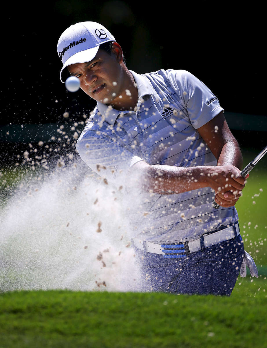 June 7, 2016 - Fabian Gomez hits out of the bunker near the 17th green the during a FedEx St. Jude Classic practice round at TPC Southwind on Tuesday. (Mike Brown/The Commercial Appeal)