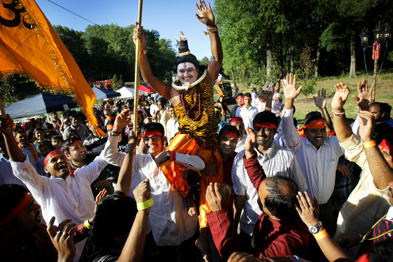 September 23, 2012 - Uma Maheswar Malireddy, dressed at Lord Shiva, is hoisted up on the shoulders of followers as they dance and chant during the Ganesh Festival of Greater Memphis at the Indian Cultural Center and Temple in Eads. The second annual event to honor the Hindu god Ganesha included a parade of floats, dancing, singing, food and performances. The event falls in the middle of Ganesh Chaturthi, a ten-day Hindu festival honoring the birthday of Lord Ganesha who is the deity of intellect and wisdom. (Mike Brown/The Commercial Appeal)