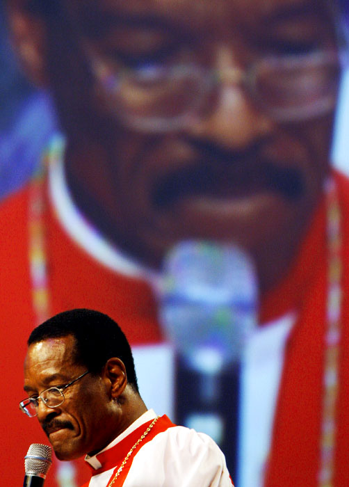 Presiding Bishop Charles E. Blake delivers the sermon at the FedEx Forum during the Order of Divine Worship near the end of the 100th annual COGIC Holy Convocation.(Mike Brown/ Memphis Commercial Appeal)