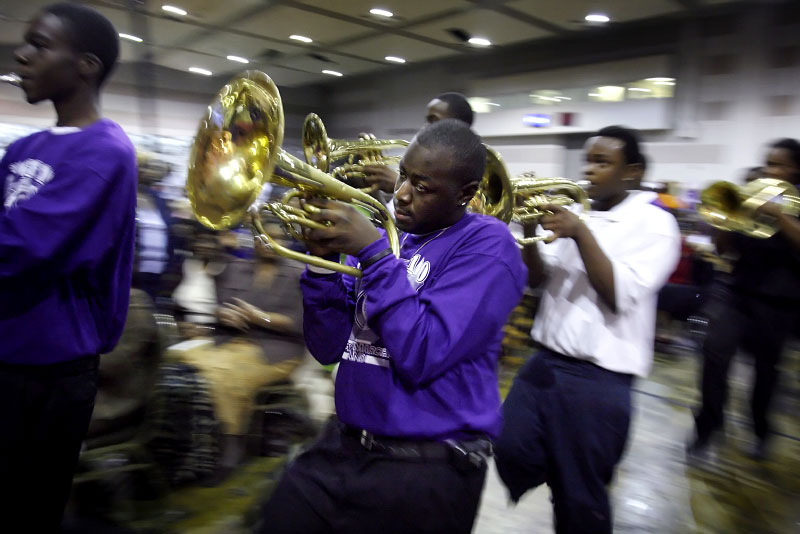 The COGIC marching band, with members from Memphis area high schools, march into the Cook Convention Center to help kick off the first service of the 100th annual Holy Convocation.(Mike Brown/ Memphis Commercial Appeal)
