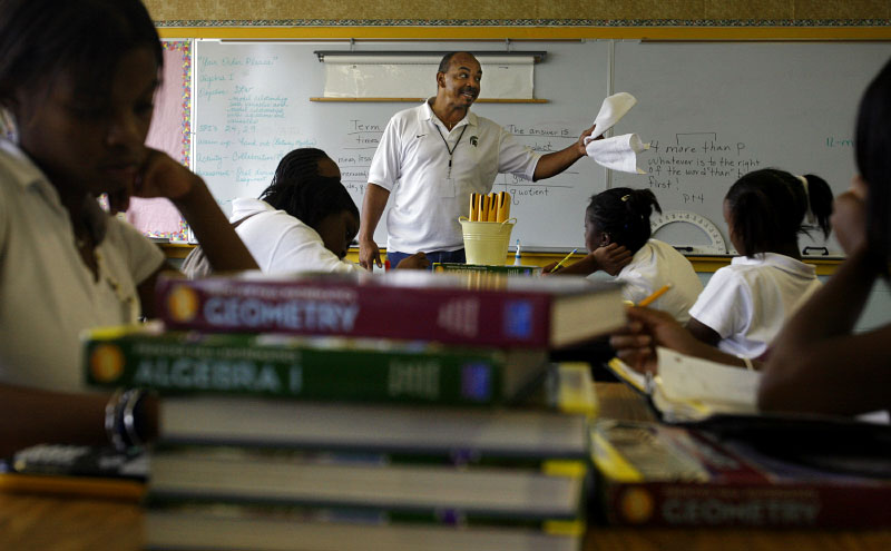 {quote}Uncle{quote} Joe Hunter drops in on an honors geometry class at Frayser High School to talk about life choices. He tells the kids to hit the books and not the dope. {quote}I can't spell good because I smoked weed at your age.{quote} he says. (Mike Brown/ Memphis Commercial Appeal)