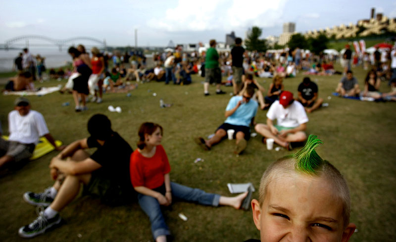Stephen Wilbanks, 7, from West Memphis, shows off his attitude and green mohawk while enjoying the music at the Memphis In May Music Festival.(Mike Brown/Memphis Commercial Appeal)