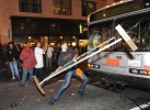 Gregory Graniss smashes a Muni bus windshield with a police barricade in San Francisco after the Giants won the World Series on October 28, 2012. Graniss was later charged with felony vandalism and pleaded not guilty.