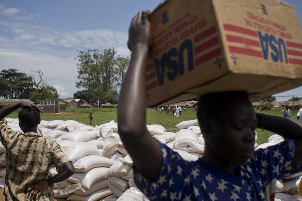 USAID food distribution point, IDP camp outside Gulu, Uganda.