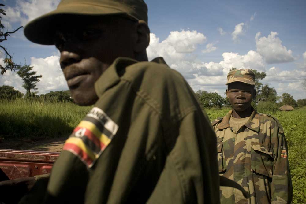 Members of the UPDF on a joint patrol with the US Army unit stationed in Kitgum, Uganda