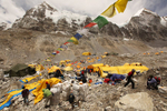 IMG (International mountain Guides) company tearing down camp on their last day at Base Camp