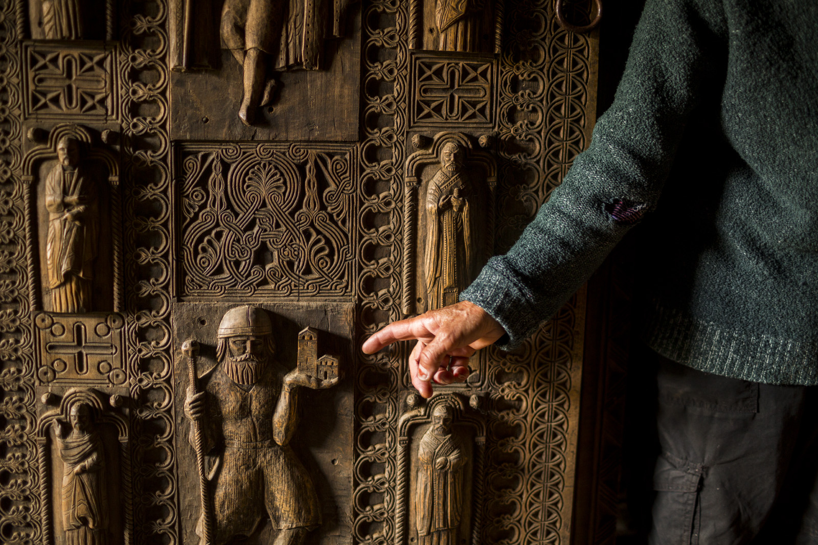 Nijaradze shows a door made by her great grandfather in the village of Ushguli, Svanetia, Georgia.The Svans (Georgian: სვანი, Svani) are an ethnic subgroup of the Georgians (Kartvelians) living mostly in Svaneti, a region in northwest Georgia. They speak the Svan language and are mostly bilingual also in Georgian. Both these languages belong to the Kartvelian (South Caucasian) language family. In the pre-1930 Soviet census, the Svans were afforded their own {quote}ethnic group{quote} (natsional'nost) category.