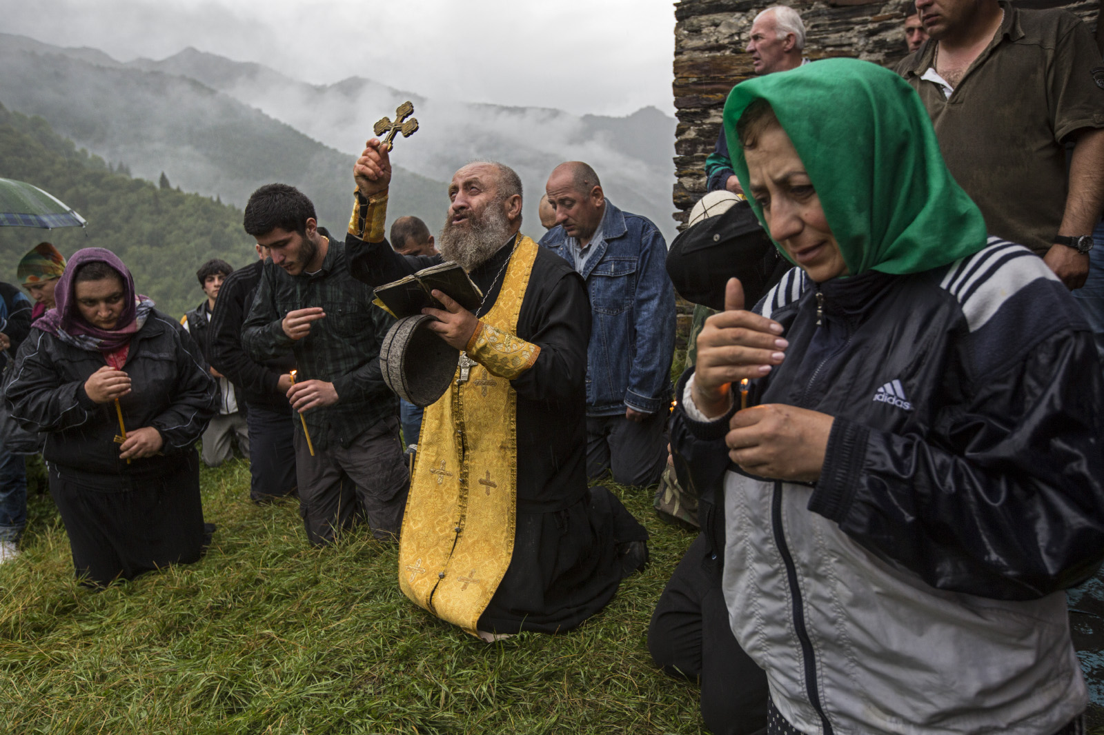 Mass at the monastery of St. Kvirike and St. Ivlita (Lagurka Church), at the Quiricoba Festival, Kala