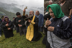 Mass at the monastery of St. Kvirike and St. Ivlita (Lagurka Church), at the Quiricoba Festival, Kala