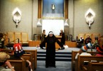Rabbi Albert Thaler dresses as a nun to celebrate and lead Purim services and celebrations at the Temple Gates of Prayer Synagogue. Thaler is known for finding different outrageous costumes each year for the holiday.