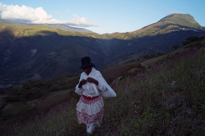Coca leaf farmer Ms. Vasquez in the lush Yungas Valley.