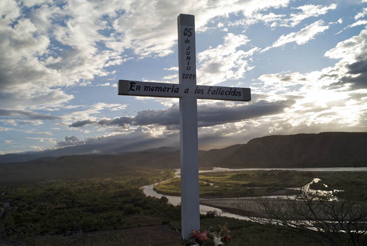 A memorial is setup to honor indigenous natives and local migrants killed in a clash with the Peruvian national police.