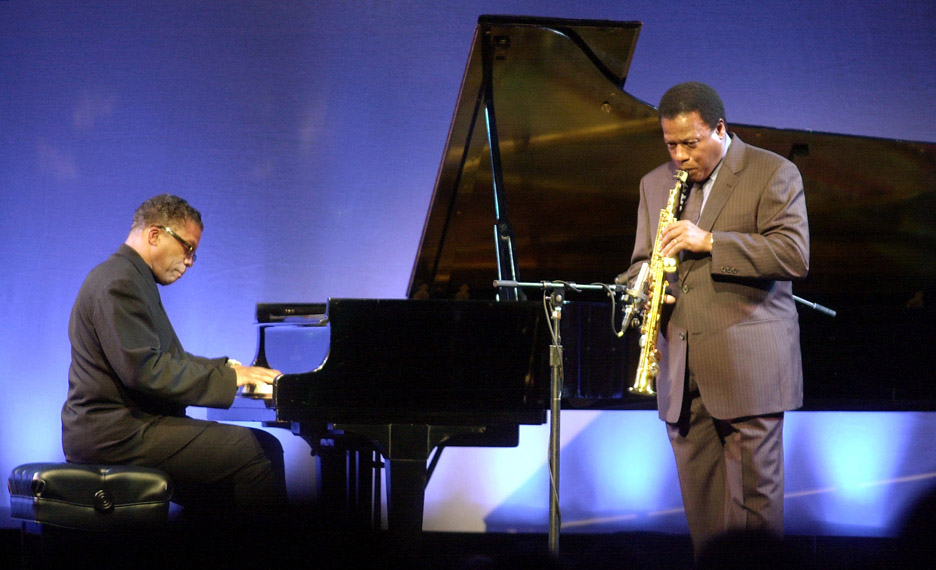 Jazz legends Herbie Hancock, left, and Wayne Shorter perform in honor of musical genius Carlos Santana, who received the first annual {quote}Humanity in the Arts Peace Award,{quote} from the International Committee of Artists for Peace.