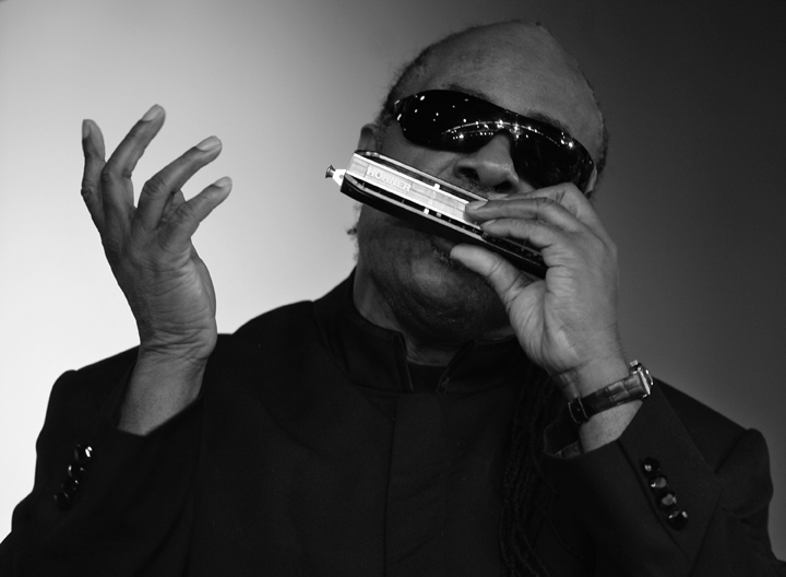 Stevie Wonder pays tribute during the funeral service for Grammy award-winning jazz trumpeter Freddie Hubbard.