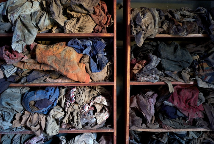 February 5, 2016 - Clothing of genocide victims are displayed at the Murambi Technical School, which is now known as the Murambi Genocide Memorial Centre; the centre tells the story of how 40,000-50,000 Tutsis were killed on April, 21, 1994.
