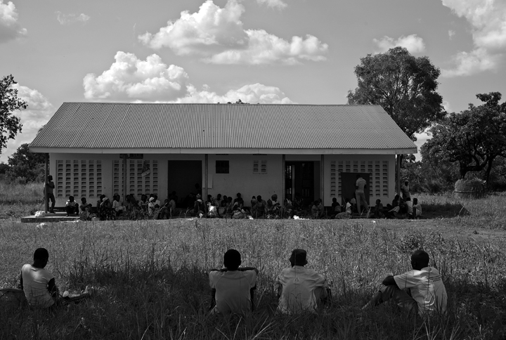 September 11, 2014 - Lapul - Ocwida village - Parents and caretakers with Nodding Syndrome patients wait to enter the Lapul - Ocwida Health Centre II.