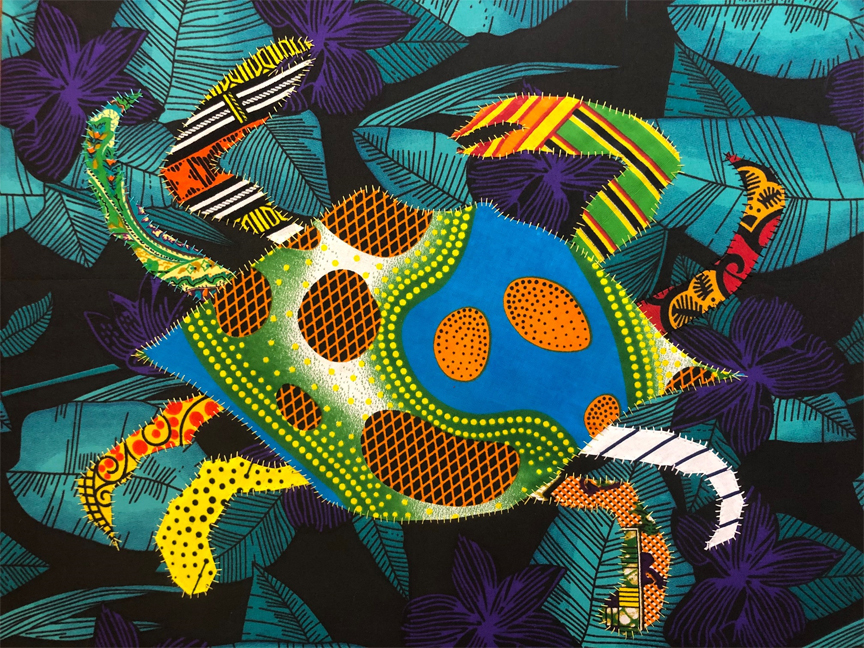The crab moves side to side but is always making progress.- Ewe ProverbIn Twi the crab is called okoto. The Akan say the crab is hard to draw out of it's hole, but once out is a fierce warrior.In Haiti, {quote}ti crab{quote} is a term of endearment or affection for a loved one meaning little crab.This is part of a series to be auctioned to benefit Sheenway  Schools in LA and Ghana.