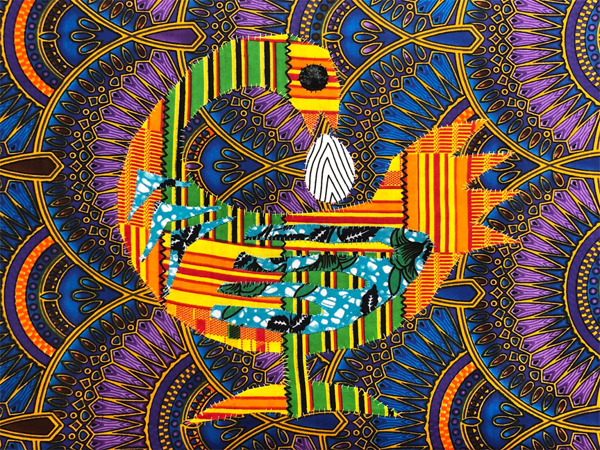 Sankofa- one must return to the past in order to move forward.This is part of a series of artwork to be auctioned to benefir Sheenway Schools in LA and Ghana.