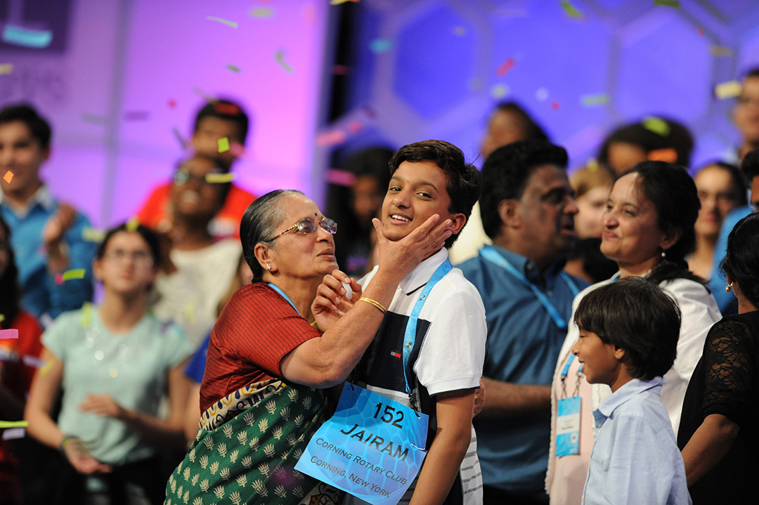 May 26, 2016; National Harbor, MD, USA; Jairam Hathwar, 13, of Painted Post, N.Y., celebrate as co-champion during the 2016 Scripps National Spelling Bee at the Gaylord National Resort and Convention Center. Mandatory Credit: Christopher Powers-USA TODAY NETWORK ORG XMIT: USATSI-269288 (Via OlyDrop)
