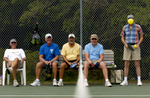 Pickleball players watch the ball go back and forth as they sit out a game. Pictured are Adolph Netzel, left to right, Dan Toothman, Bob Leonard, Wayne Tucker and Gary Anderson.