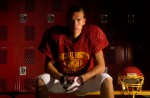 Cardinal Mooney wide receiver Dylan Knopfke in the team's locker room .