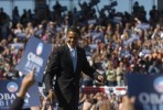 Barack Obama is greeted by thousands of supporters at a campaign rally at Ed Smith Stadium in Sarasota, Florida.