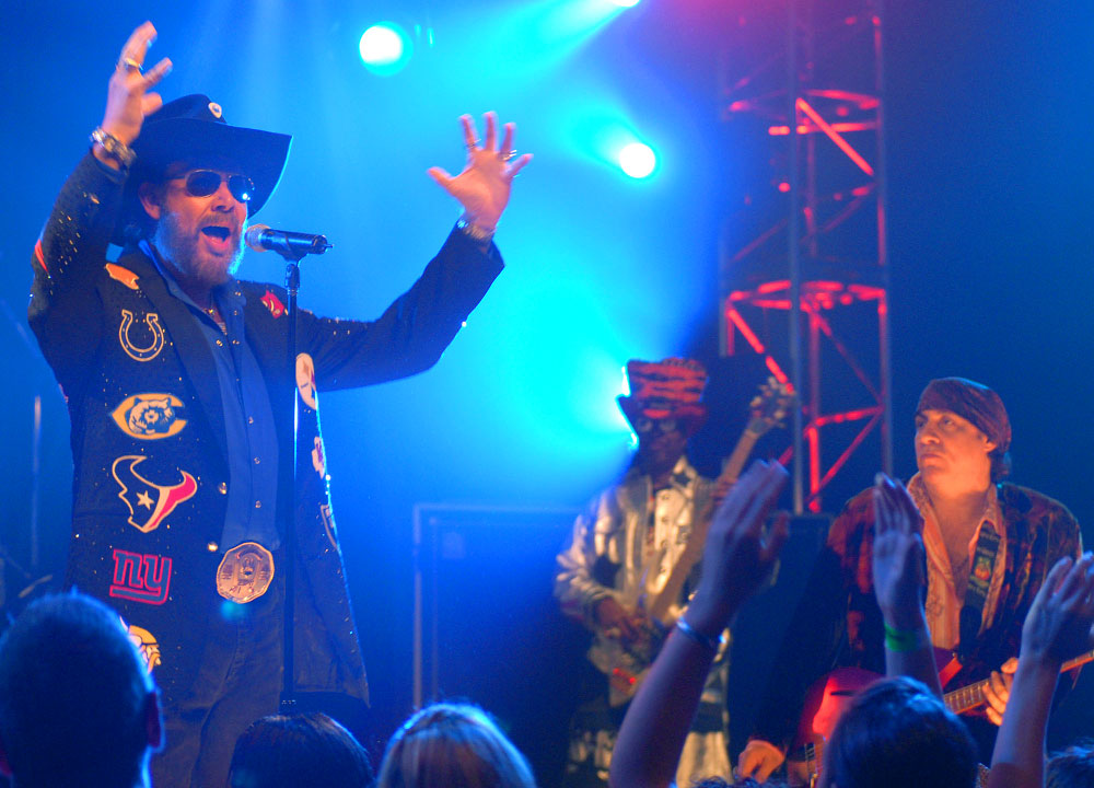 Hank Williams, Jr., and friends film a commerical for ESPN's Monday Night Football at the House of Blues in Lake Buena Vista, Florida.