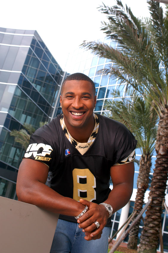Former UCF and NFL quarterback Daunte Culpepper poses for a magazine cover on the University of Central Florida campus in Orlando, Florida.