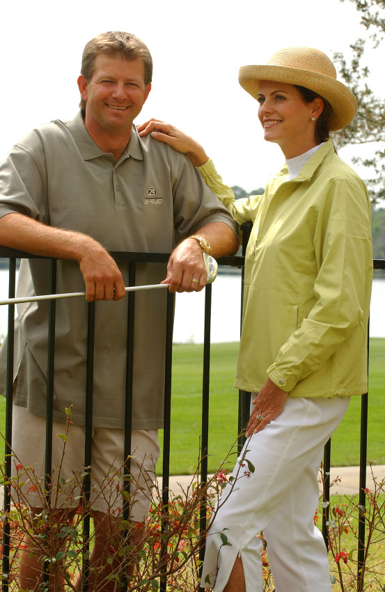 PGA golfer Retief Goosen, and his wife Tracy, photographed for Ahead golfwear.