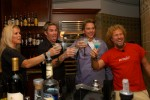 Rockers Lita Ford, from left, Mark McGrath, of Sugar Ray, Hard Rock Hotel general manager Lou Carrier, and rocker Sammy Hagar say a cheer before drinking during a party at the Hard Rock Hotel in Orlando, Florida.