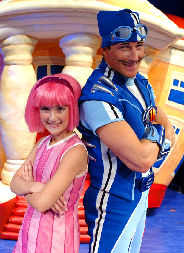Julianna Rose Mauiello, left, and Magnus Scheving, stars of the television show Lazy Town, photographed for Nickelodeon.