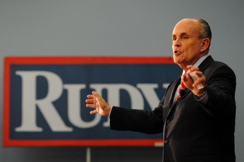 Presidential candidate Rudy Giuliani addresses supporters at a rally in Auburndale, Florida.