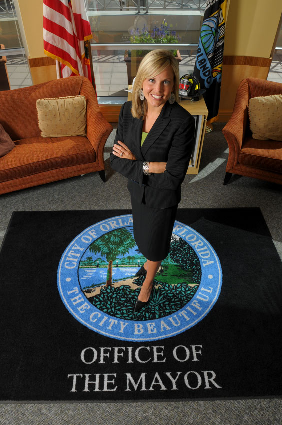 Brie Turek, chief of staff to Orlando Mayor Buddy Dyer, poses in his office in downtown Orlando, Florida.