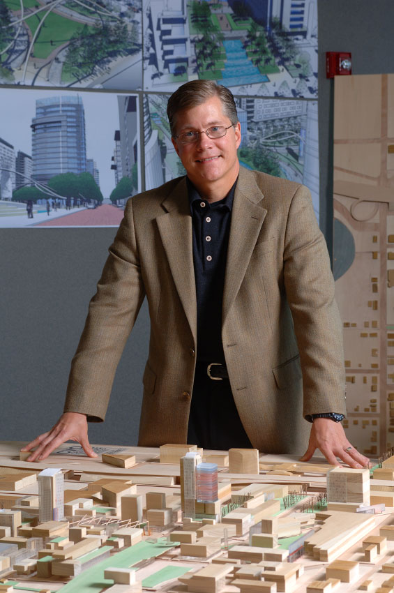 Baker Barrios Architects Principal Partner Tim Baker photographed for downtown development campaign.