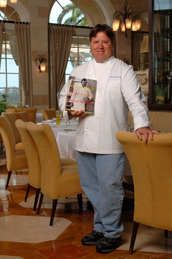 Legendary celebrity Chef Norman Van Aken at his Norman's restaurant at the Ritz-Carlton Hotel in Orlando, Florida.