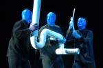 Members of the Blue Man Group perform at Universal Studios Florida in Orlando, Florida.