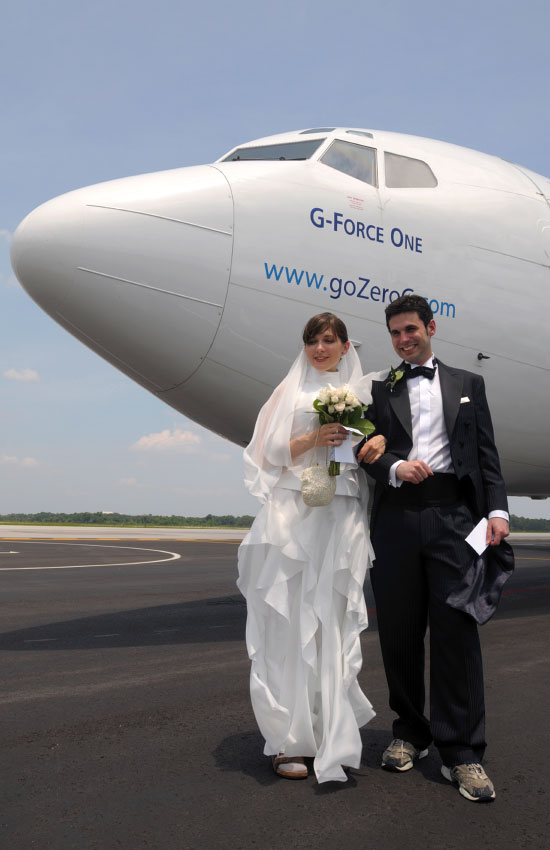 Noah Fulmor and Erin Finnegan, of New York City, became the world's first couple to get married in a weightless environment while flying aboard G-Force One over the Gulf of Mexico on June 20, 2009.