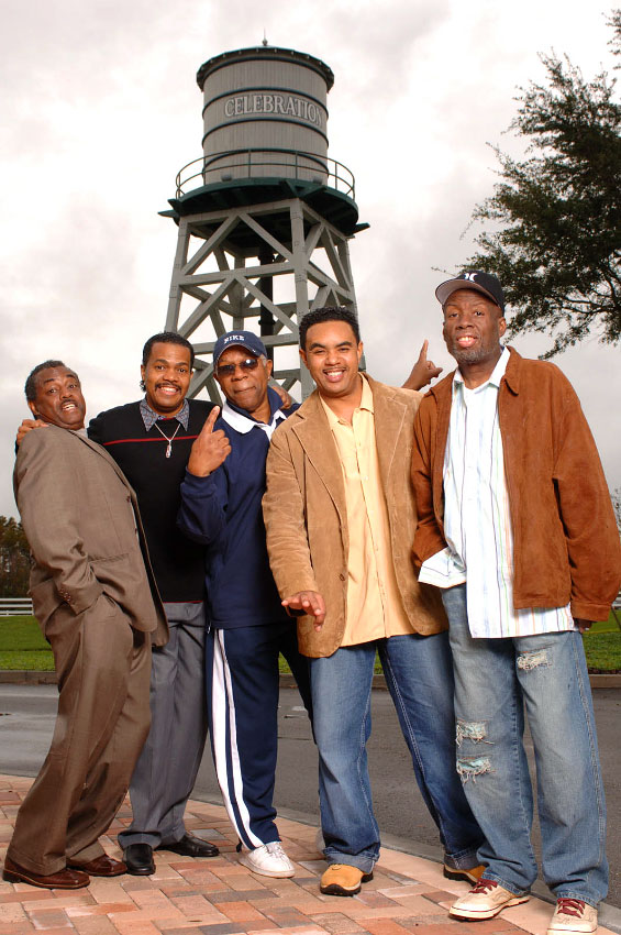 Members of the musical group Kool & the Gang pose for a photograph used as a promo shot for the band in Celebration, Florida.
