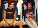 Actor Matthew McConaughey, left, stops by the Atlanta Braves locker room for a chat with Chipper Jones during spring training in Lake Buena Vista, Florida.