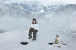 tommy whitcomb ice fishing with his cat. Christmas card for 2012