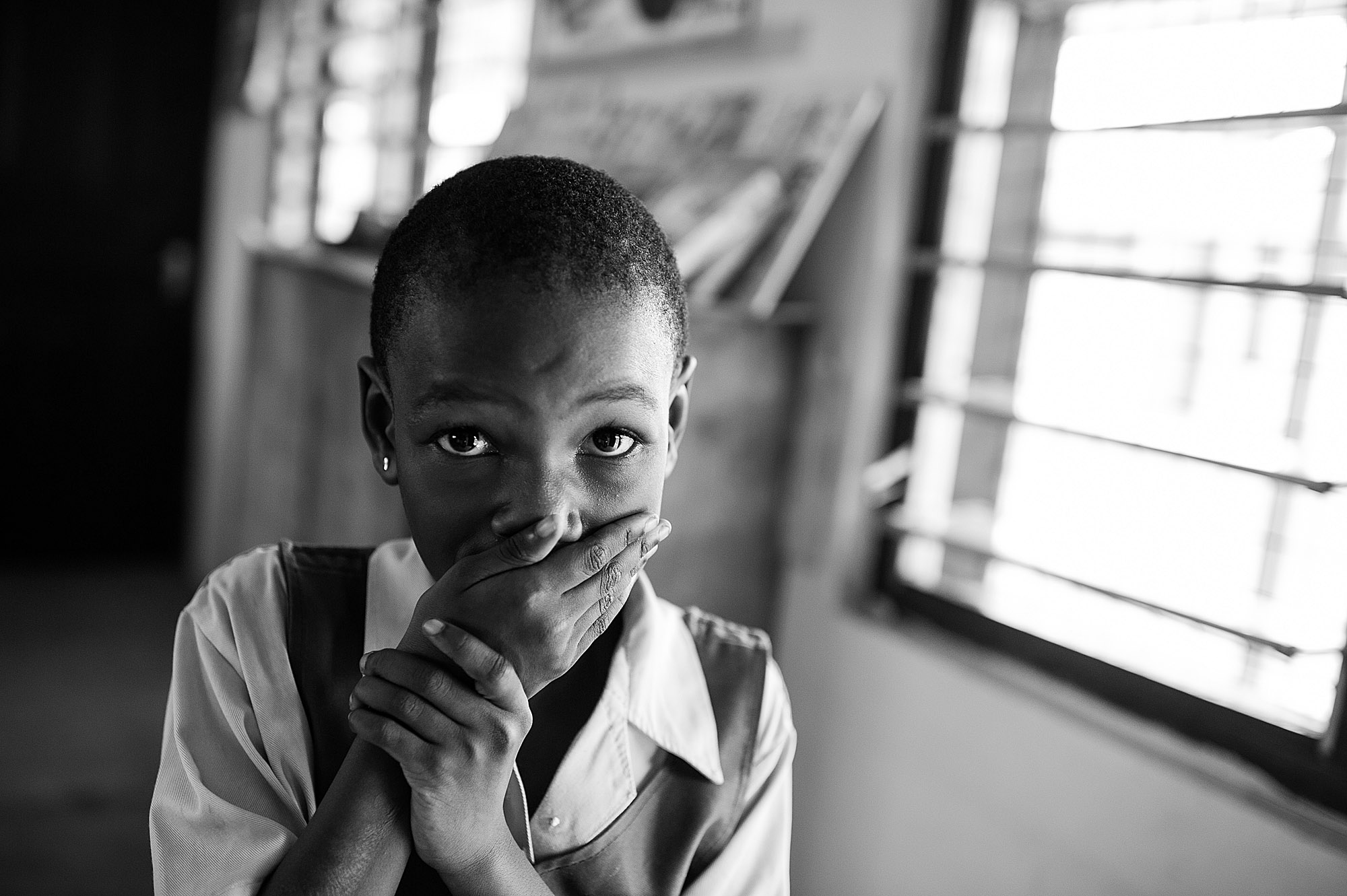 Maca, a student at a school for special needs in Accra, Ghana falls on the Autism Spectrum.  Photographed for St. Peter's University Hospital