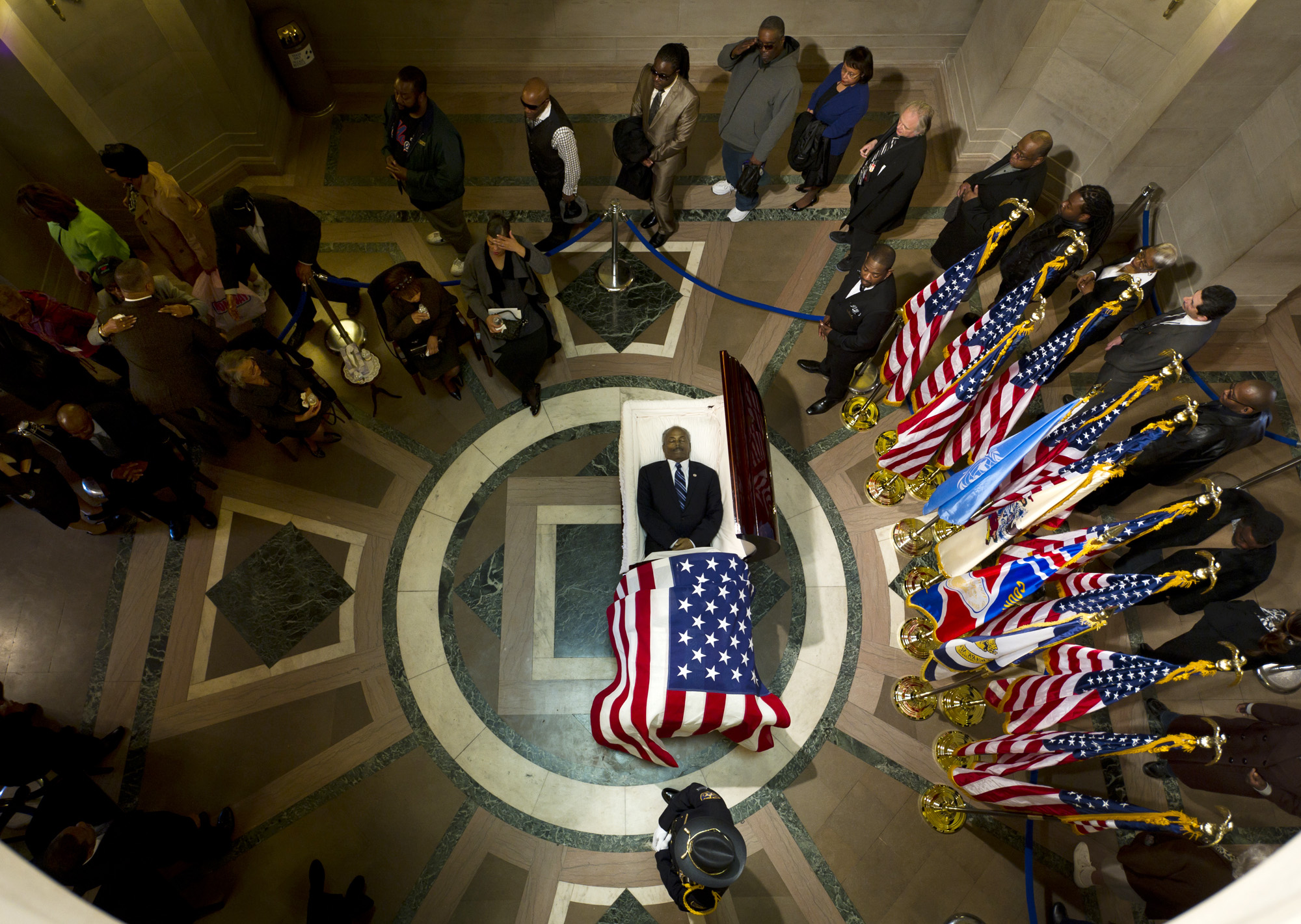 U.S. Representative Donald Payne in the Rotunda of the Hall of Records, Newark, NJ.  Photographed for The New York Times